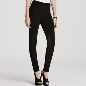 Lafayette 148 Black Ponte Knit Pull On Pants with Leather Knee Patches